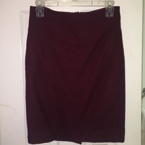 Burgundy J. Crew Wool Pencil Skirt. Size 0.